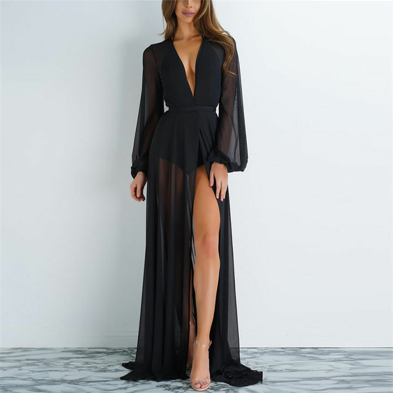 2020 Women Kaftan Beach Dress Mesh Long Bikini Sarong Cover Up Swimwear Beach Wear Bathing Bathing Suit Cover Ups Robe Plage