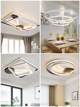 Modern LED Ceiling Light Fixtures For Living Room Bedroom Home Lighting With Remote Control Dimmable Black White Lamp Lustre