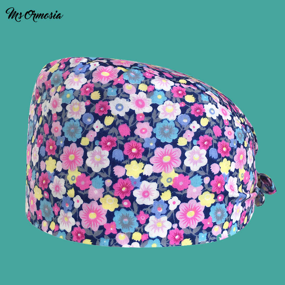 Beauty Hospital Male Female Doctor Operating Room Surgical Cap Hat 100% Cotton Pet Doctor Nurse Dental Hat Medical Doctor Hat