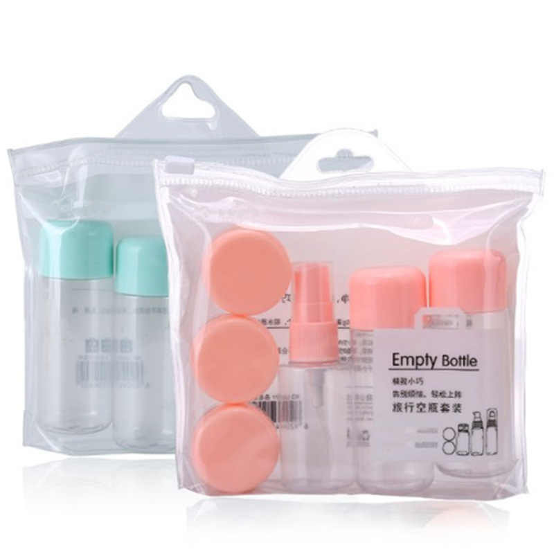 8Pcs/set Plastic Transparent Refillable Bottles Mini Makeup Lotion Perfume Spray Bottle Cream Container Empty Travel Accessories