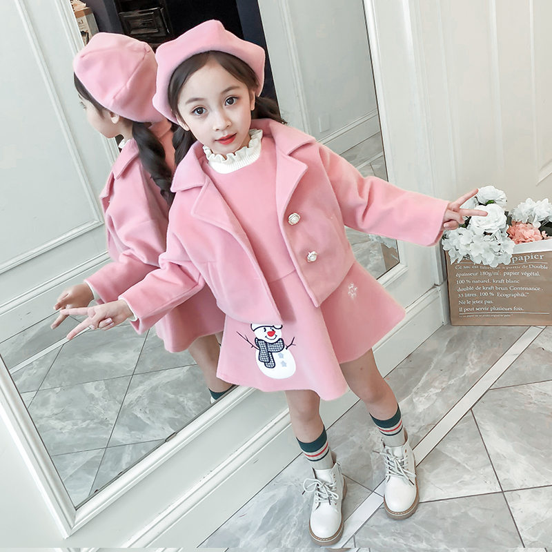 Fashion Wool Girl Baby Clothing Set Snowman Outfit Dress + Coat Hat 3 Pieces Toddler Clothes Christmas