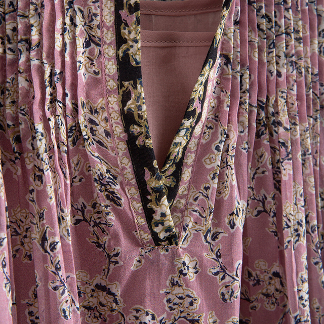 [EAM] Women Pattern Printed Pleated Vintage Dress New V-Neck Long Sleeve Loose Fit Fashion Tide Spring Summer 2021 7A038 4