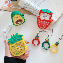 3D Dynamic Quicksand Silicone Cute Fruit Strawberry Avocado Pineapple Case for Apple TWS Airpods 1 2 Wireless Earphone Box
