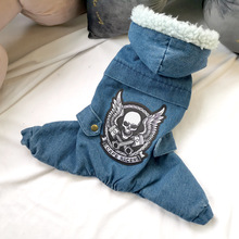 Overalls Skulled Dog-Jumpsuit Dogs Winter Denim Hood for Teddy XS XL