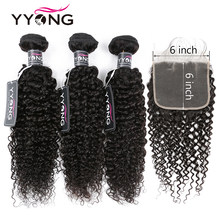 Yyong 6x6 Closure With Bundles Kinky Curly 3/4 Bundles Human Hair With Closure Peruvian Remy Hair Bundles With Lace Closure(China)