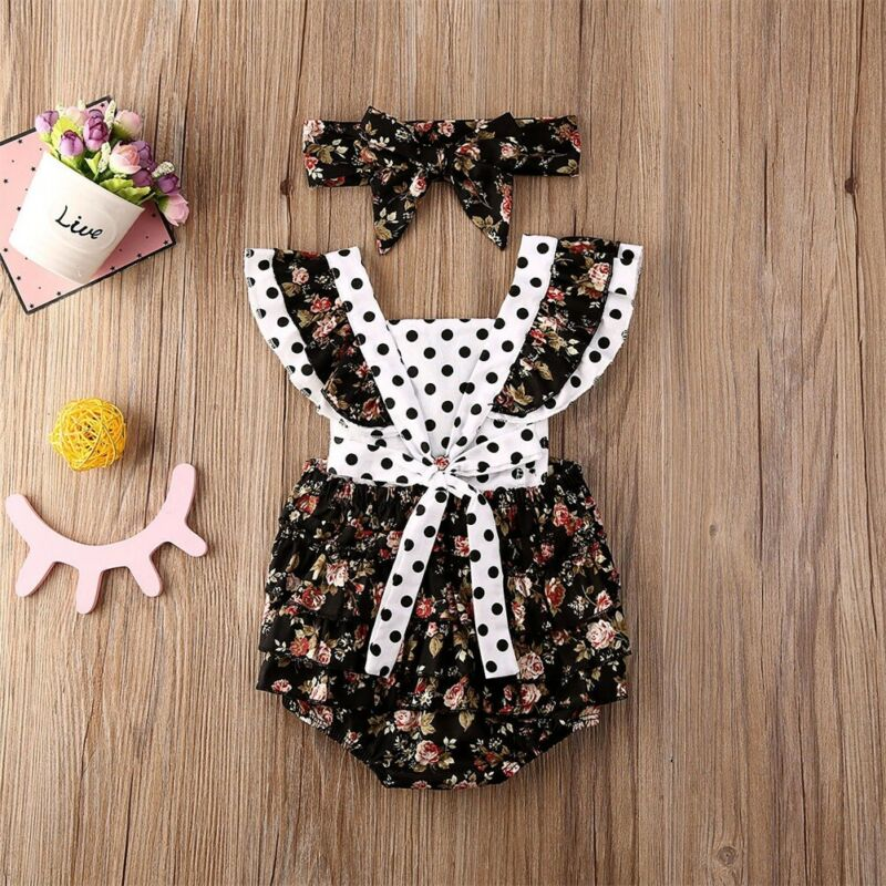 Lace Jumpsuits With Headband Newborn Baby Rompers Floral Outfits Girls Clothing