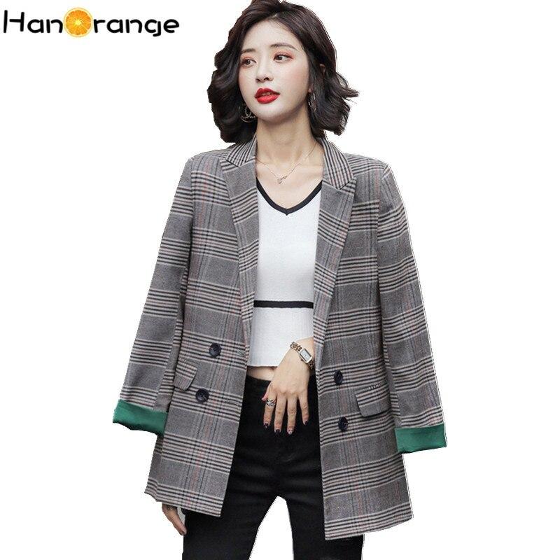 British Style Patchwork Cuff Plaid Suit Jacket Women 2019 Spring Autumn Leisure Temperament Slim Chic Blazer Jacket