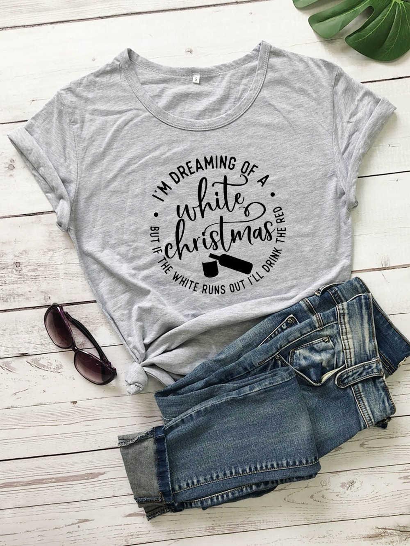 Im hayal beyaz noel t gömlek moda pamuk rahat tatil hediye genç sokak stili tumblr grunge tee sevimli top-K645
