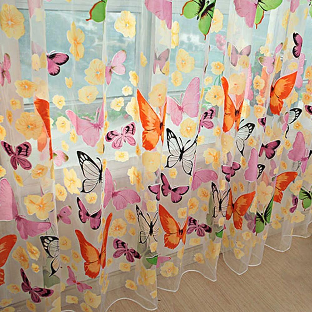 Behogar mariposa Cortina para ventanas estampada Voile cortinas de puerta de pared balcón divisor Rideau Cortina para sala de estar dormitorio