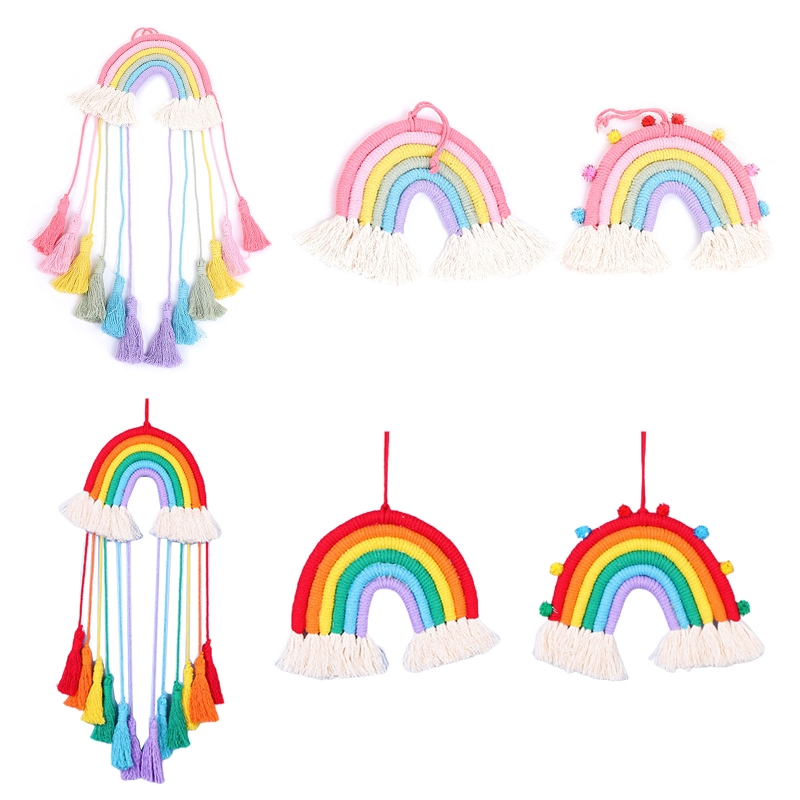Nordic Hand-woven Macrame Rainbow Tapestry Wall Hanging Pendant Home Ornament