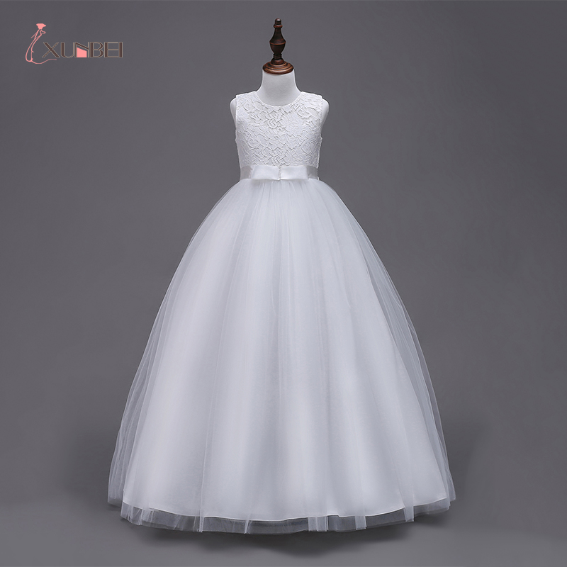 2019  In Stock Princess White Flower Girl Dresses Girls Pageant Dresses First Communion Dresses Evening Party Dresses