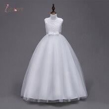In Lager Prinzessin Weiße Blume Mädchen Kleider Mädchen Pageant Kleider Erstkommunion Kleider Abend Party Kleider