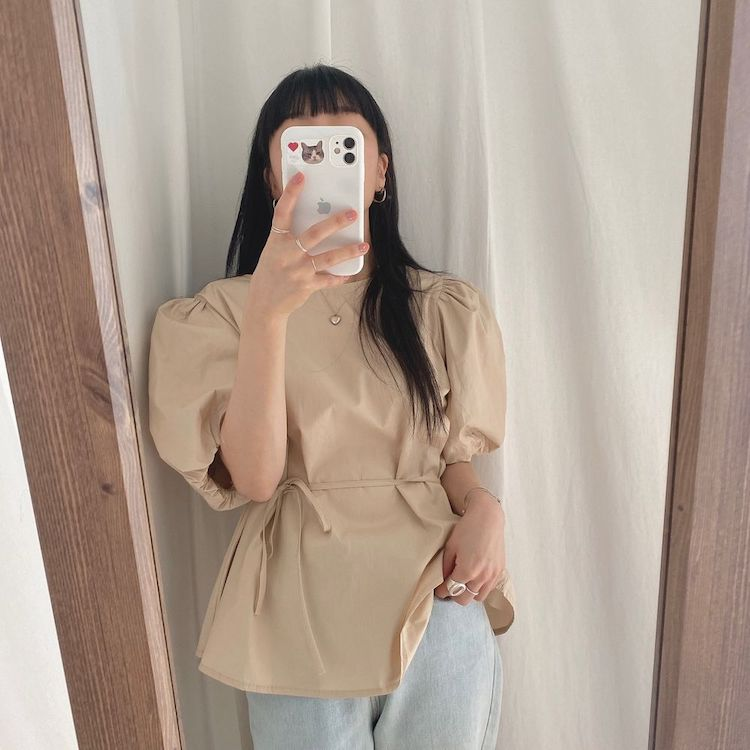 H6c4fa792dea34b84a1045bf938de908eF - Summer O-Neck Short Puff Sleeves Cotton Lace-Up Solid Blouse