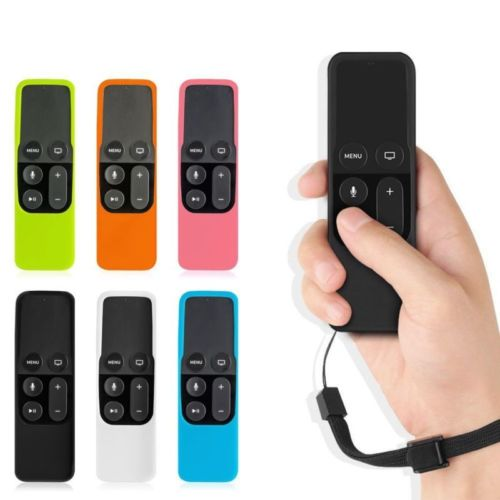 Soft Silicone Protector Case Cover Skin Sleeve W/ Lanyard Strap For Apple TV 4th Generation 4 Gen Siri Remote Controller