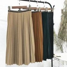 女性ガール新韓国ルースルース薄型弾性ウエストスカートロングスカートプリーツパンツハーフスカート女性