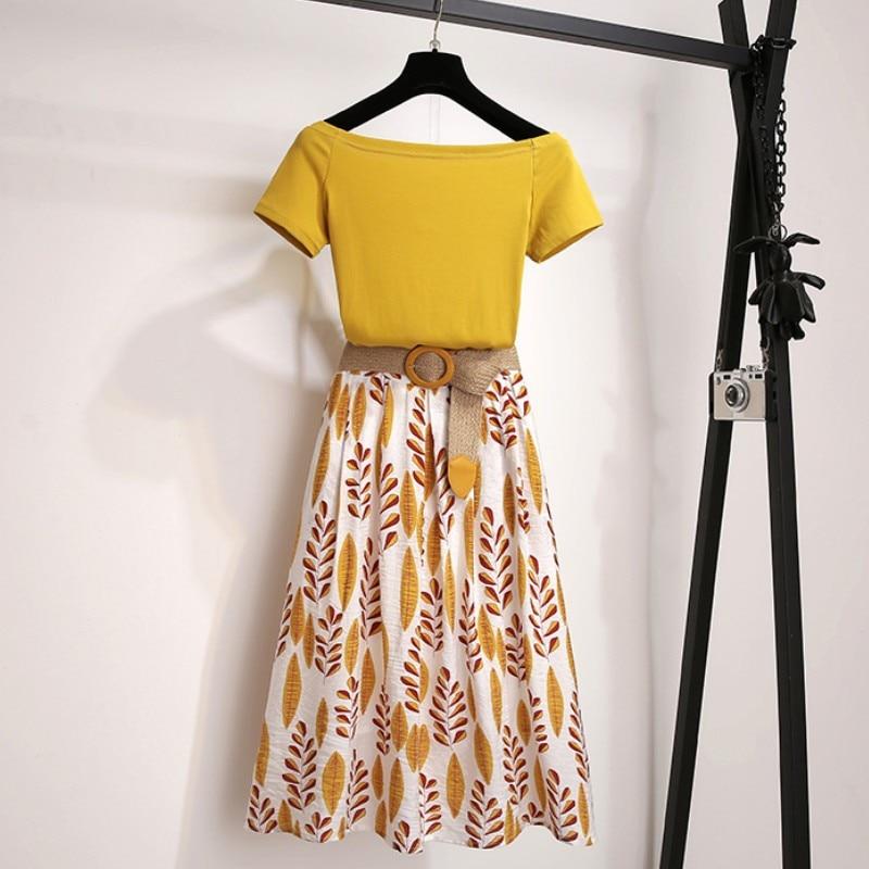 Women Summer T Shirt 2 Piece Set Off Shoulder Basic Tees+High Waist Leaf Print Skirt Sets Fashion Suit With Free Braided Belt
