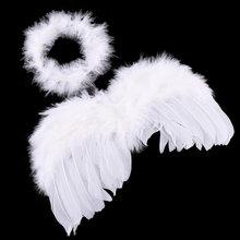 Białe skrzydła anioła piórko dekoracja urodzinowa słodkie dziecko dzieci zdjęcie Prop akcesoria dekoracyjne gospodarstwa domowego
