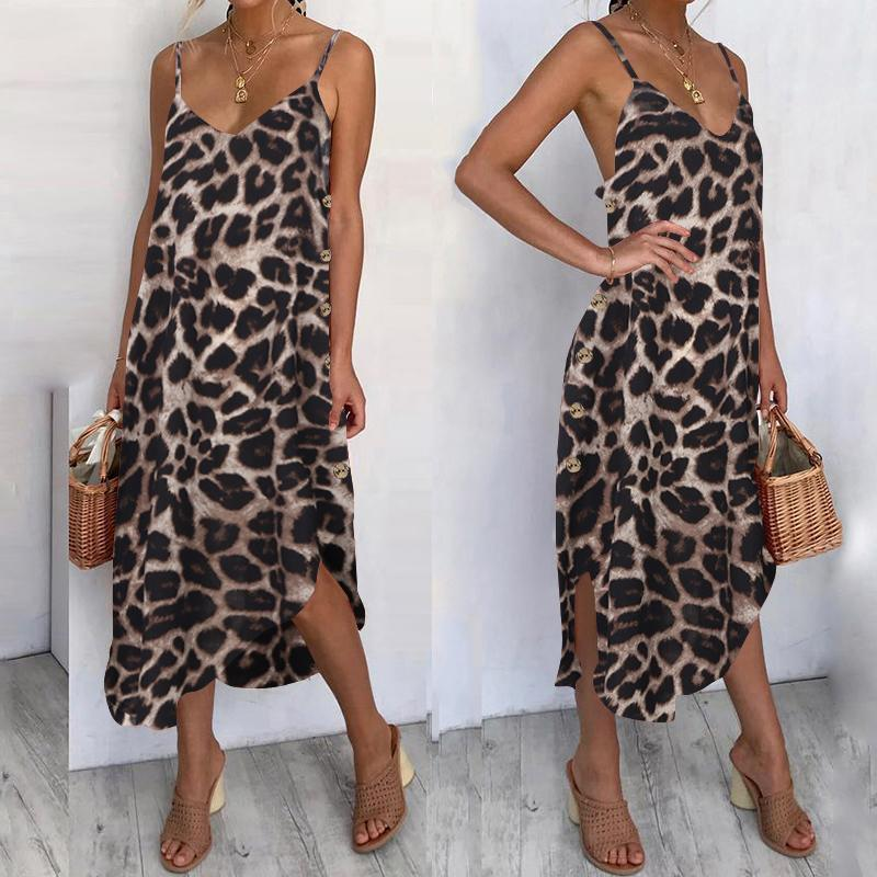 S-5XL Celmia Bohemian Summer Dress 2020 Women Sexy Leopard Print Beach Sundress Sleeveless Spaghetti Straps Midi Vestidos Robe