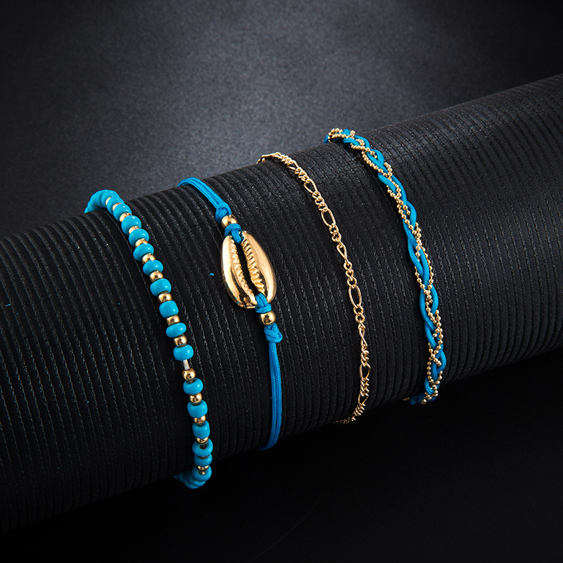 GUVIVI 2020 Gold Color Chain Bracelet on Leg Beach Ankle Jewelry Bohemian Pendant Anklets Beads Anklets for Women 3