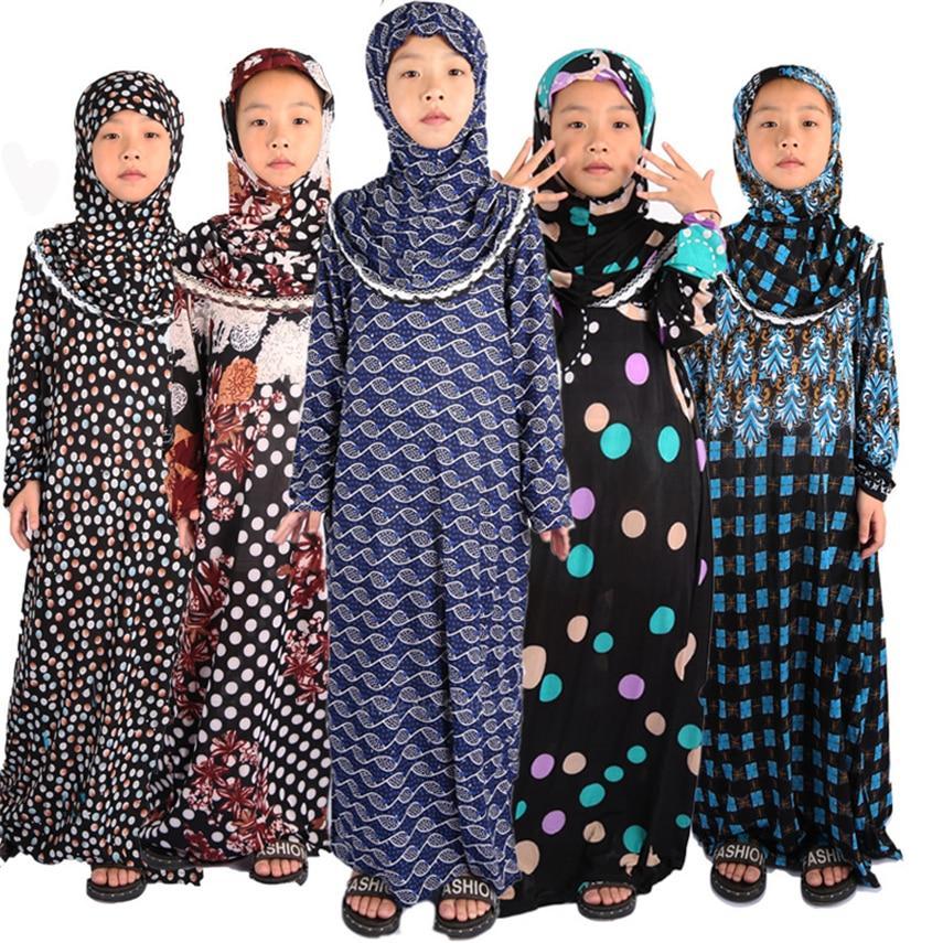 Muslim Abaya Dubai Kids Kaftan Hijab Dress Slamic Clothing 12Colors Random Baby Girl Clothes Long Robe Turkey Clothing For Women