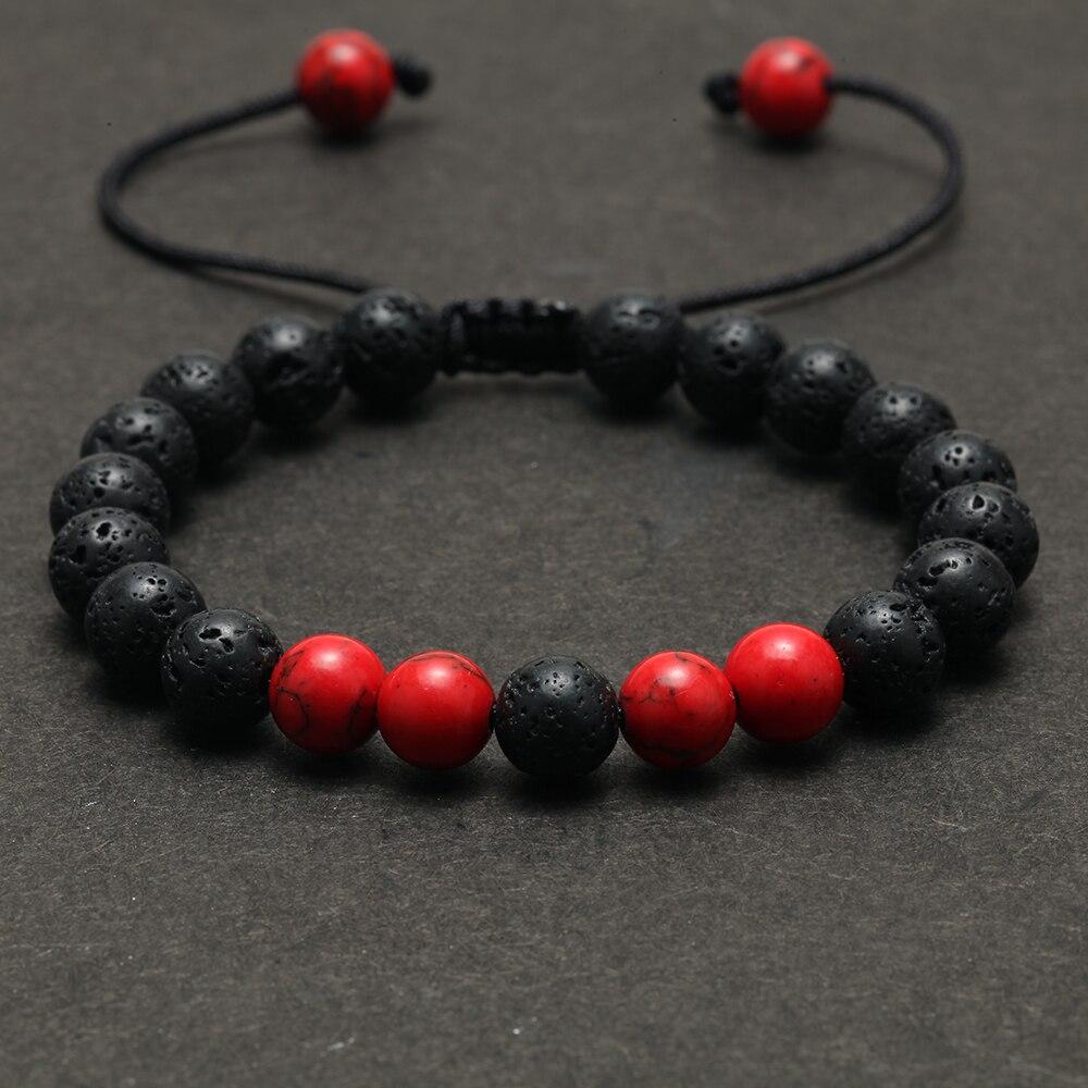 Natural Volcanic Stone Bead Charm Bracelet for Men Accessories Women's Bracelets Couple Bracelet Wristband Her Gifts for Friends