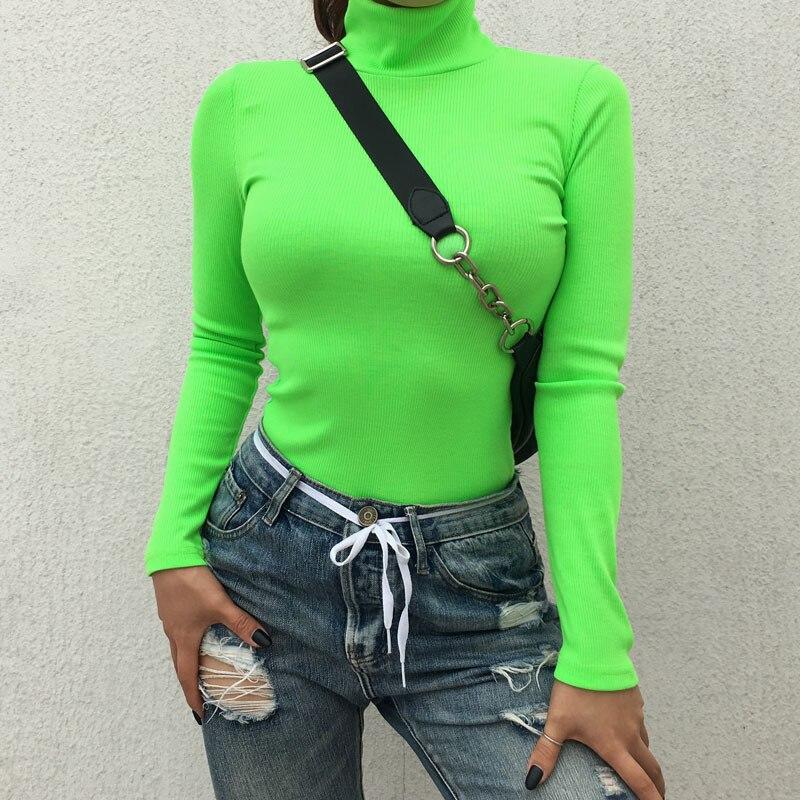 Néon vêtements col roulé néon haut manches longues néon vert jaune rose femmes dames t-shirt Manche Longue Femme chemise de noël
