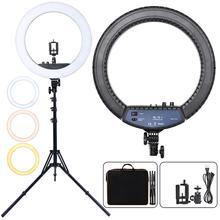 Fusitu RL 18II luz fotográfica regulable 3200 5600K 512 Anillo de luz Led Cámara fotografía de estudio con teléfono lámpara de anillo de maquillaje con trípode