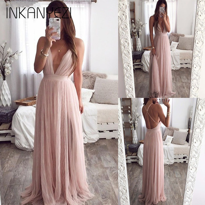 2019 <font><b>Sexy</b></font> deep v neck backless summer pink <font><b>dress</b></font> women Elegant lace <font><b>evening</b></font> maxi <font><b>dress</b></font> Holiday <font><b>long</b></font> party <font><b>dress</b></font> ladies 2019 -85 image