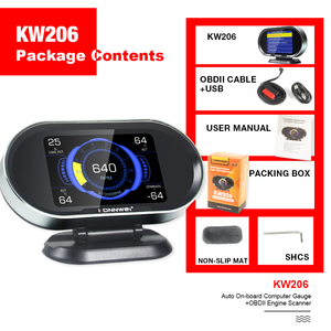 Image 5 - KONNWEI KW206 OBD2 Scanner Car Digital On Board Computer LCD Display Fuel Consumption Water Temperature Gauge Speedometer HUD