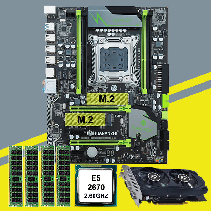 Hot sale HUANAN X79 motherboard video card GTX750Ti 2G DDR5 CPU <font><b>Xeon</b></font> <font><b>E5</b></font> <font><b>2670</b></font> C2 RAM 16G(4*4G) DDR3 RECC all tested before ship image