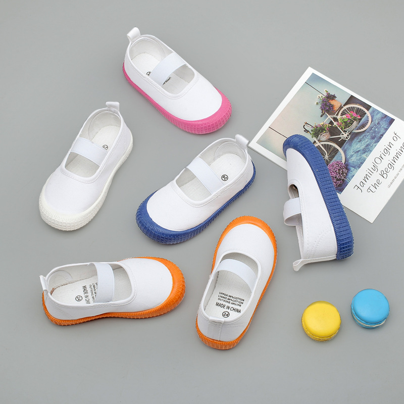 2020 Children's Canvas Shoes Toddler Kids Kindergarten Indoor Shoes Boys Girls Slip-on Elastic White Footwear