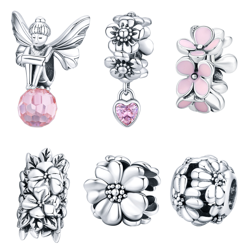 WOSTU Pink Flower Charms 100% 925 Sterling Silver Blossom Flower Beads Fit Original Bracelet Pendant For Women Necklace Jewelry