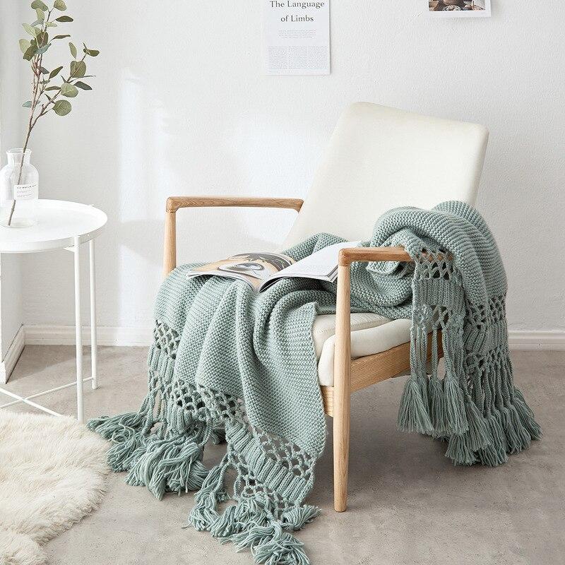 Style américain tricoté à la main ligne couverture canapé couverture accessoires Photo creux gland couverture climatisation couverture