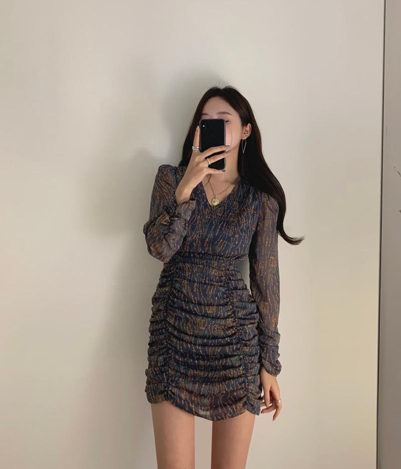 H6c50d2cde08f4349ac21031ef5e25bfdX - Autumn V-Neck Long Sleeves Chiffon Pleated Floral Print Mini Dress