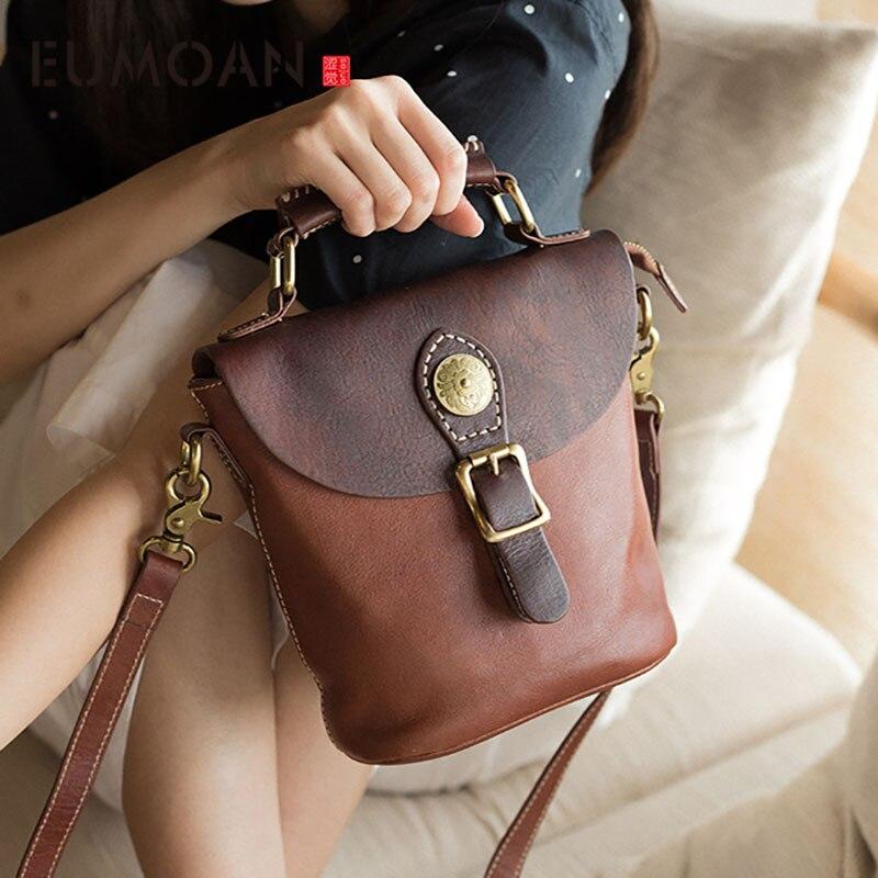 EUMOAN 2020 new leather retro simple commuter handbag leather shoulder bag original handmade Messenger bag female
