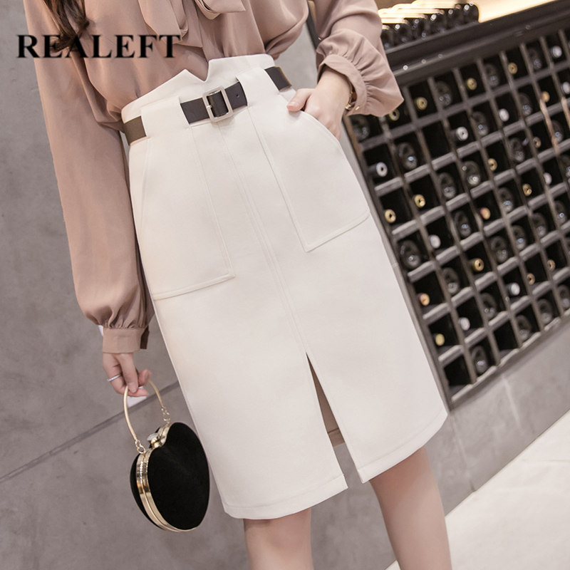 REALEFT 2020 New Spring Summer Front Split Skirt Women Midi Skirt With Belt Korean OL Style High Waist Sheath Wrap Skirts Pocket