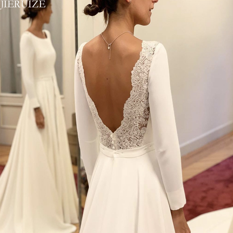JIERUIZE White Long Sleeves Backless Wedding Dresses A-line Open Back Bride Dresses Wedding Gowns Robe De Mariee