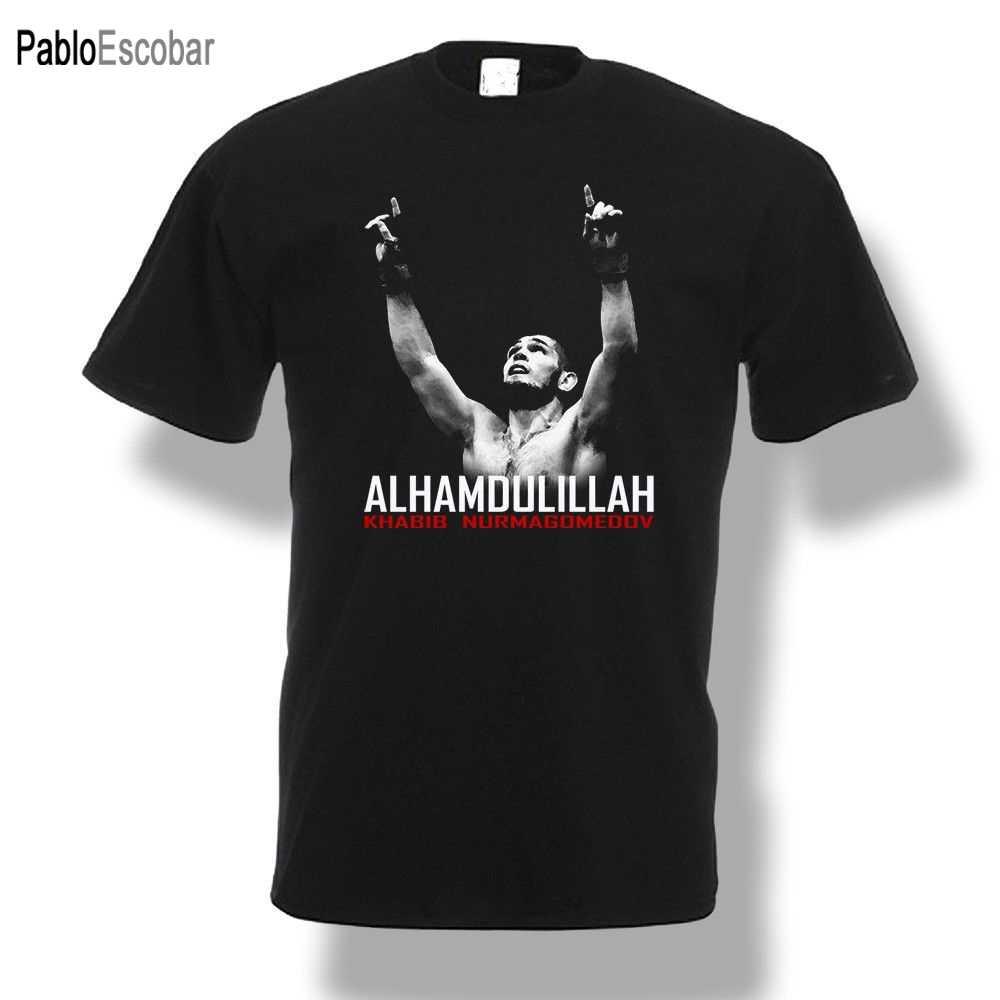Khabib Nurmagomedov Alhamdulillah T-Shirt Kämpfer Männer Schwarz shubuzhi Neue Mode Marke Männer tees Einfarbig kurzarm