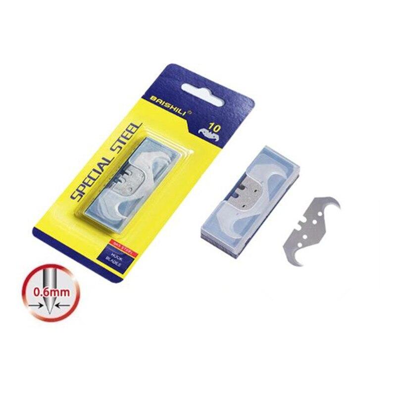 10 pcs Hook Knife Blade For Dolphin PVC Floor Cutter Knife Wallpaper Carpet Cutting Tool Big Horn Blade