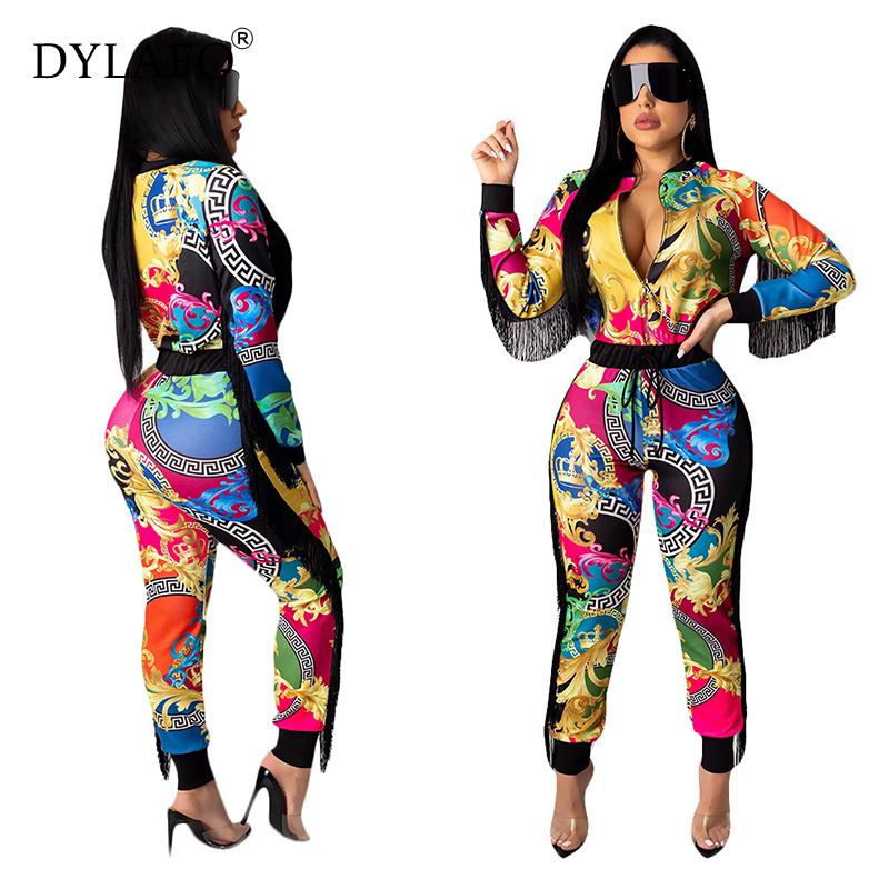 Women Casual Digital Print Jumpsuit Tassel Screw Thread Women Jumpsuits Suits Elegant O-neck Long Sleeve Bodycon Overalls Pants & Capris Women Bottom ! Plus Size Women's Clothing & Accessories