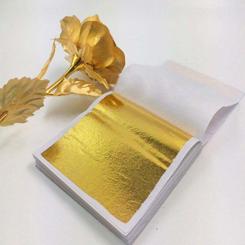 100pcs Art Craft Design Paper doratura imitazione oro argento rame fogli di carta decorazioni artigianali fai da te foglie foglie fogli