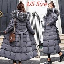 Chaqueta de Invierno para mujer, abrigo cálido con cinturón de lazo, cuello de piel de zorro, vestido largo, abrigo grueso, novedad de 2021