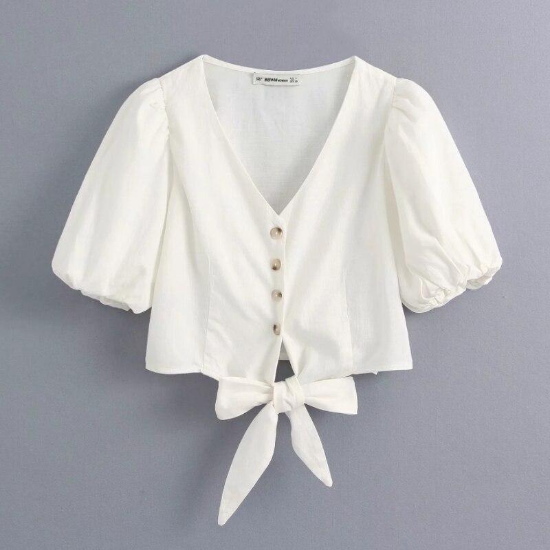 New Women Sweet V Neck Hem Bow Tied Casual Short Blouse Ladies Lantern Sleeve Buttons White Chic Shirts Femininas Tops LS6515