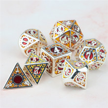 Dnd dice polyhedral metal dice set dungeon and dragon d&d heavy tabletop rpg gear dice with bag D20 D12 D10 D8 D6 D4