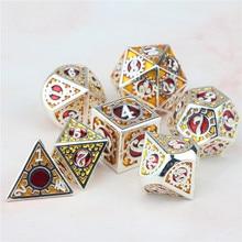 D20 d12 d10 d8 d6 d4 jogo de dados de metal poliédrico e dragão d & d pesado tabletop rpg engrenagem dados com saco