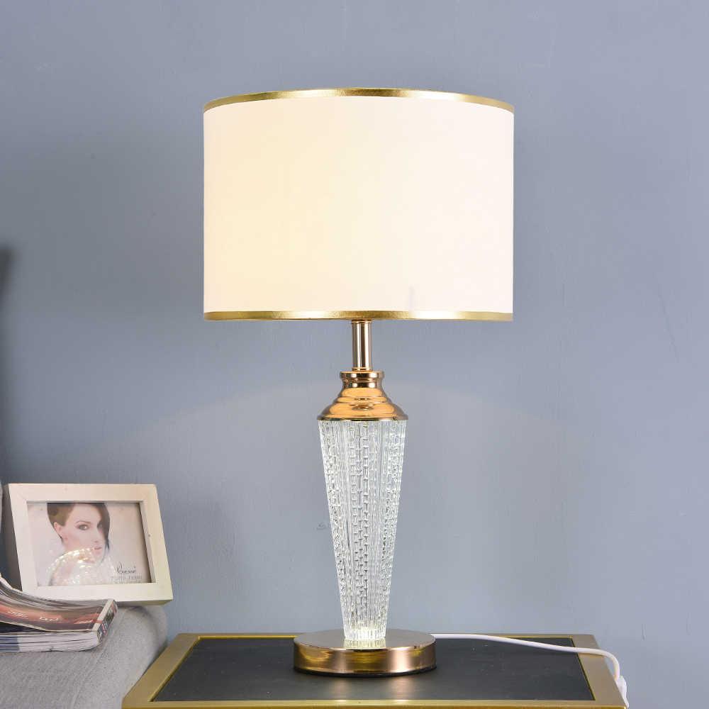 무료 배송 샤인 위아래로 크리스탈 유리 Led 테이블 램프 침실 골든 에지 전등 갓 램프 밤 램프 220v 110v