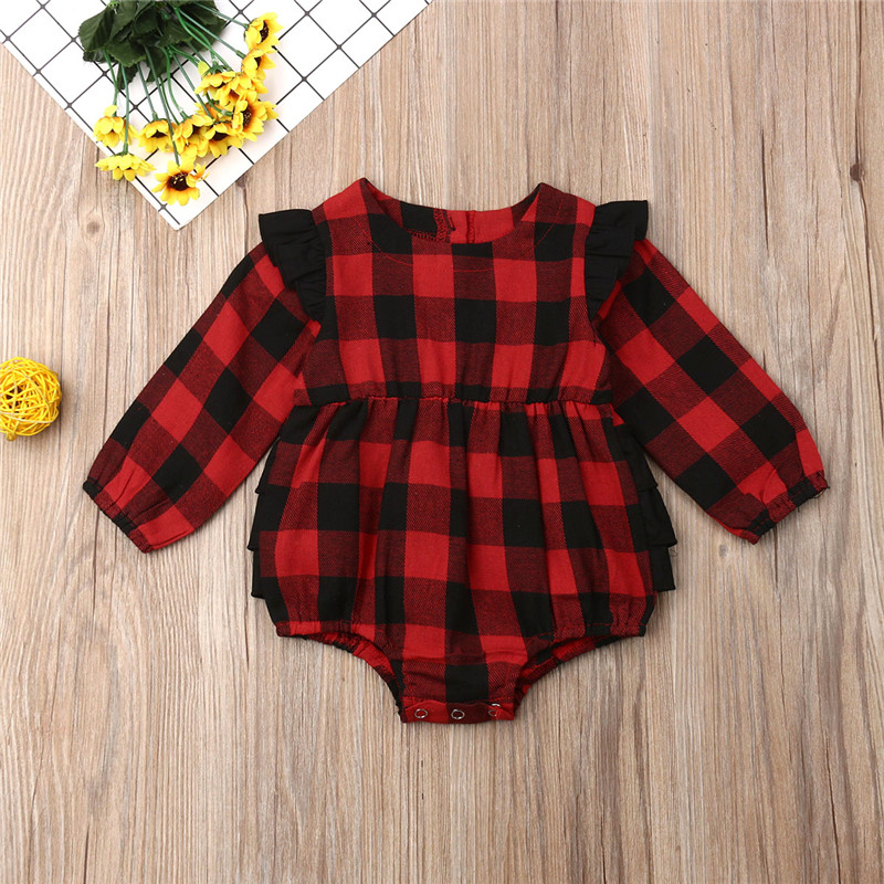 0-18M Baby Girls Clothes Long Sleeve O-Neck Baby Girls   Rompers   White Black Plaid Girls Clothing Baby Tutu Lace Infant Jumpsuits
