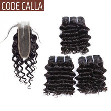 Code Calla Deep Curly Wave Bundles With 2*6 KIM K Lace Closure Brazilian Remy Human Hair Extensions With Middle Part Closure(China)