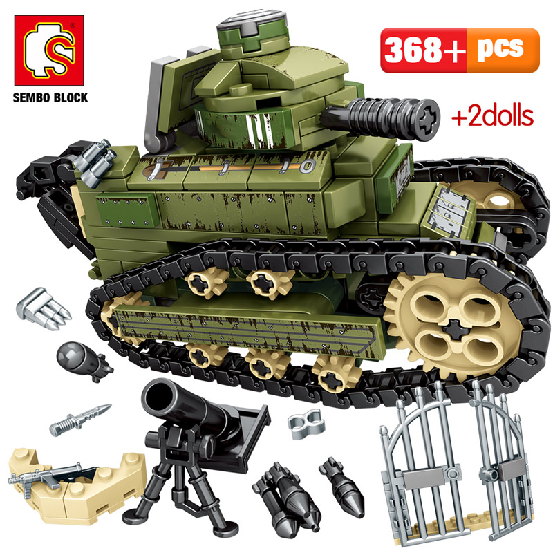 596PCS WW2 City Police Ambulance Model Building Blocks For Legoing Military Tank War Weapon Soldier Figures Bricks Toys For Boys