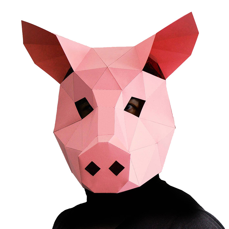 Pig DIY Mask Cosplay Christmas Costume Adult Children Cardboard Breathable Halloween Party Funny Masks
